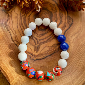 Red, White & Blue Beaded Stretch Bracelet