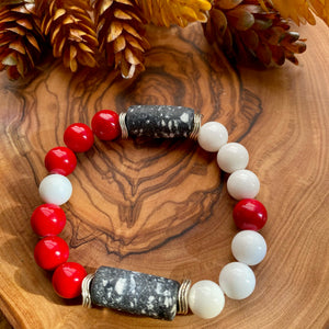Red, White & Black Krobo Beaded Stretch Bracelet