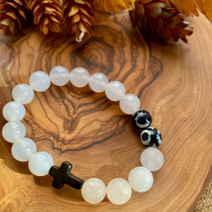 White & Black Cross Beaded Stretch Bracelet