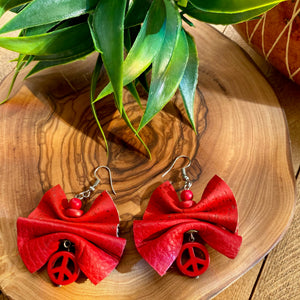 Red Leather & Cork Ruffle Earrings w/ Peace Accent