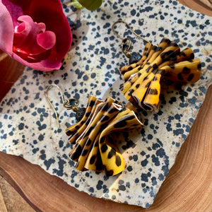 Animal Print Leather Ruffle Earrings