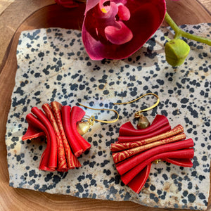 Red & Gold Leather Ruffle Earrings
