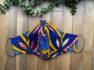 Blue, Red & Yellow Ankara Fabric Mask