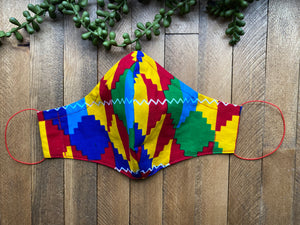 Multicolor Kente Pattern Ankara Fabric Mask