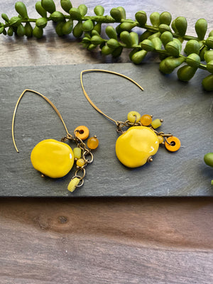 Sunshine Yellow Kazuri Earrings