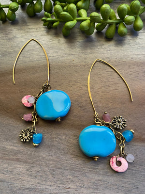 Pretty Pink & Baby Blue Kazuri Earrings
