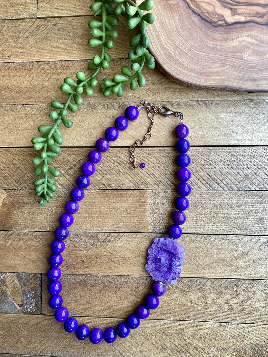 Purple Magnesite & Druzy Necklace