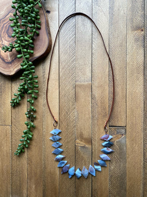 Leather & Botswana Agate Statement Necklace