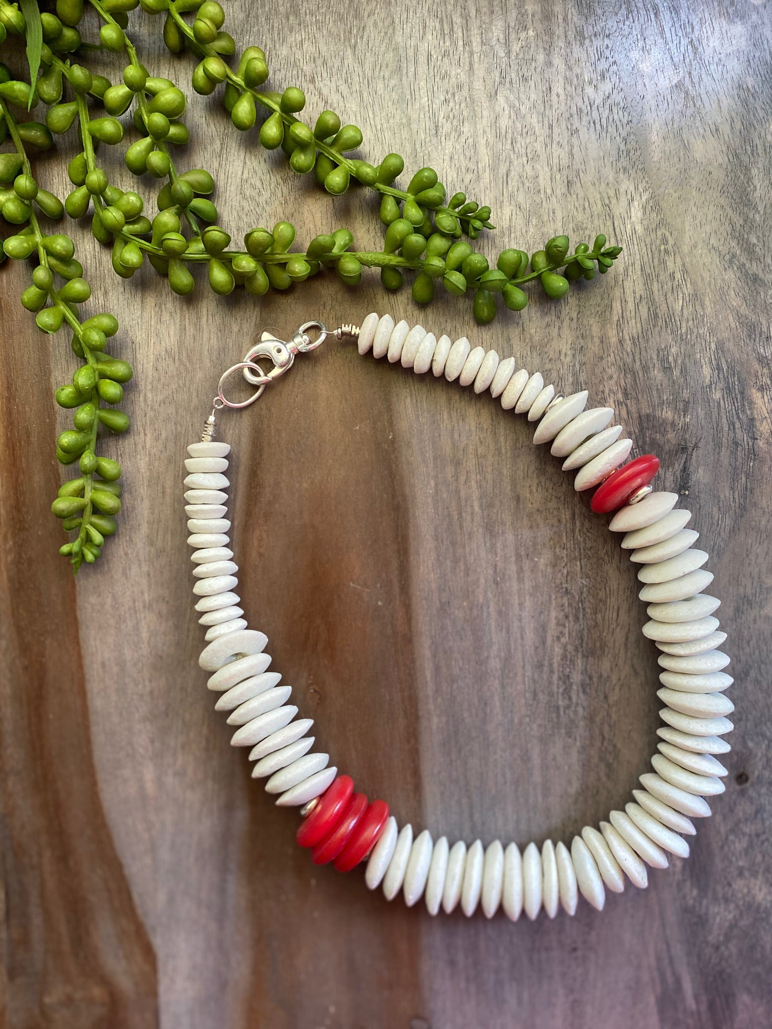 White & Red Statement Necklace