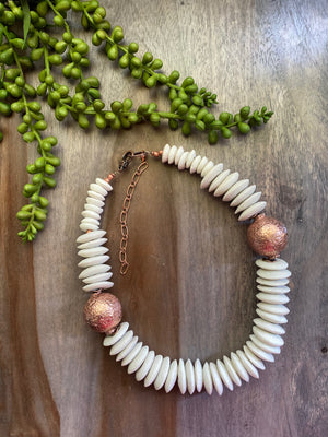 White & Copper Statement Necklace