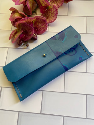 Teal Adinkra Leather Envelope Clutch