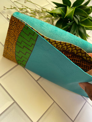 Aqua Ankara Leather Envelope Clutch