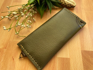 Olive Leather Envelope Clutch