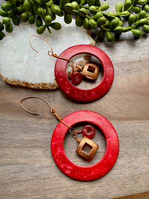 Red & Copper Statement Earrings