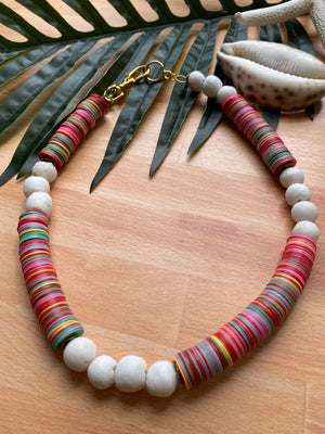 Summer Love | Vinyl & African Glass Necklace