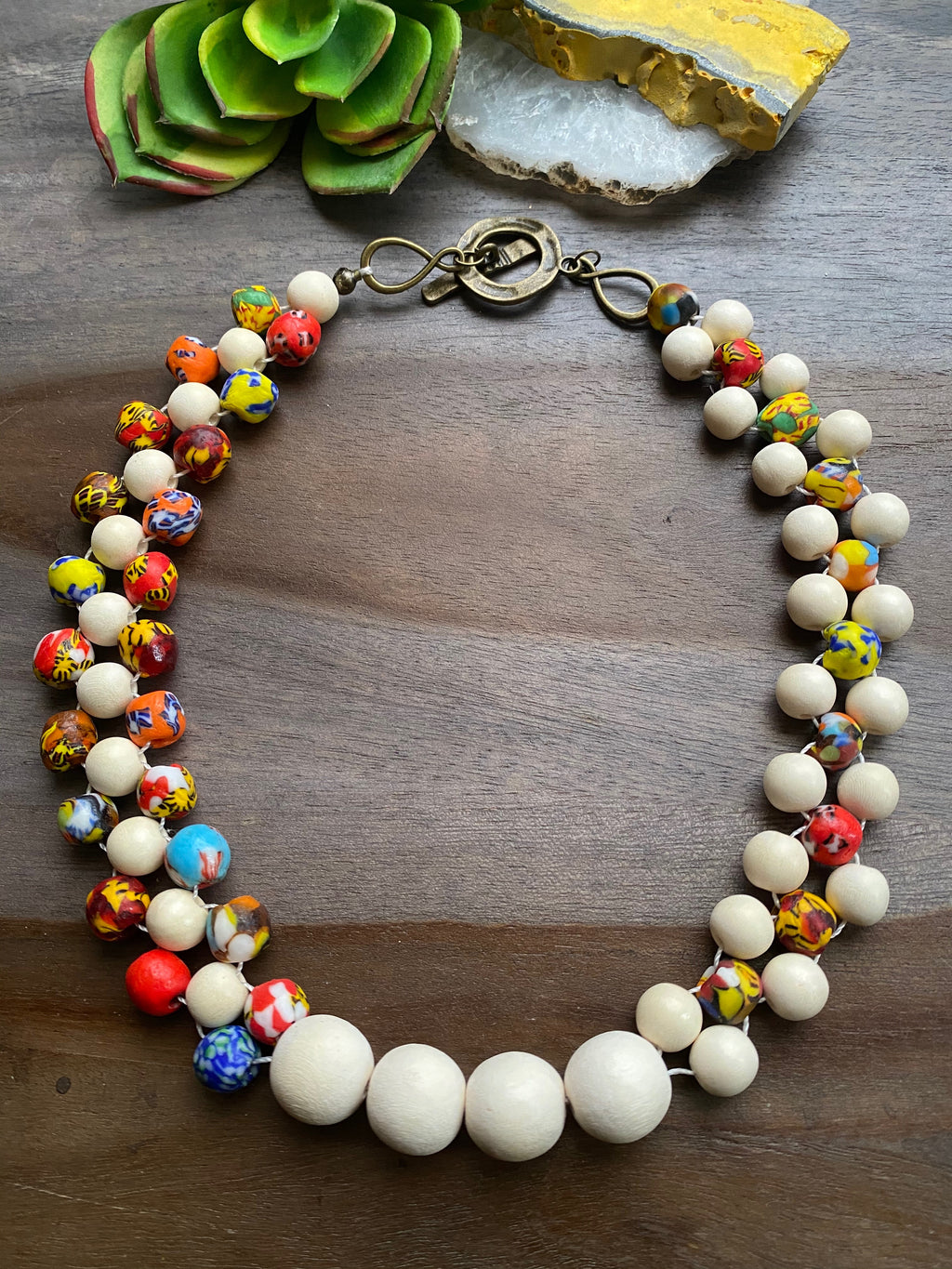 White with Multicolored Fused Glass Bib Necklace