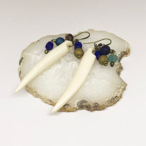 Blue & Cream Spike Earrings