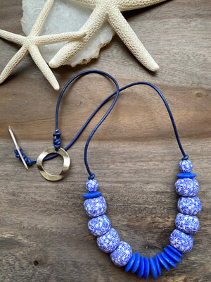Blue & White African Glass Necklace
