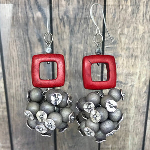 Gray & Red Bunch Statement Earrings