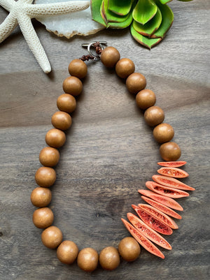 Tan Wood & Coral Bone Necklace