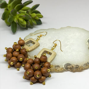 Cream & Caramel Bunch Statement Earrings