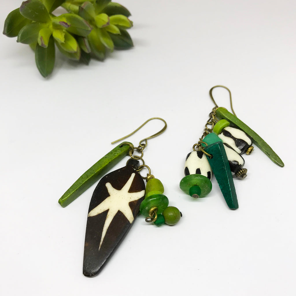 Green Batik Earrings
