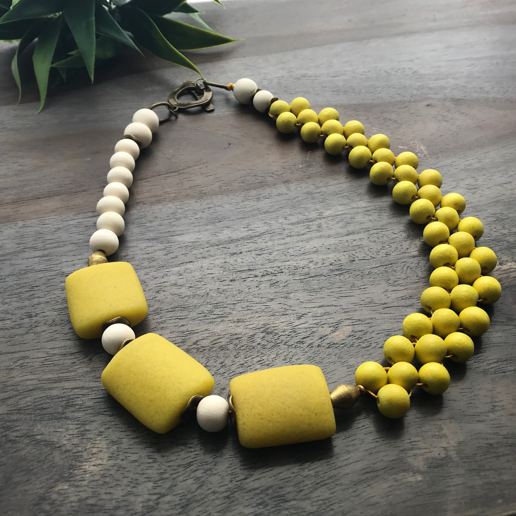 Yellow & Cream Interlaced Bib Necklace