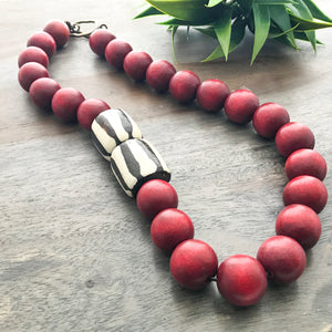 Red Wood & Bone Statement Necklace
