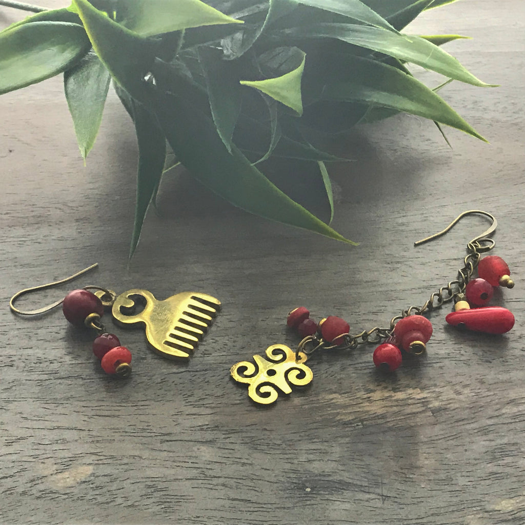 Red Asymmetrical Adinkra Earrings