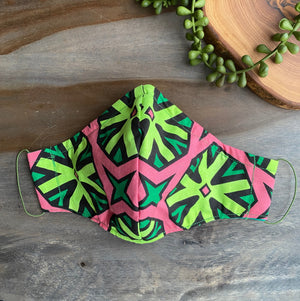 Pink & Green Ankara Fabric Mask