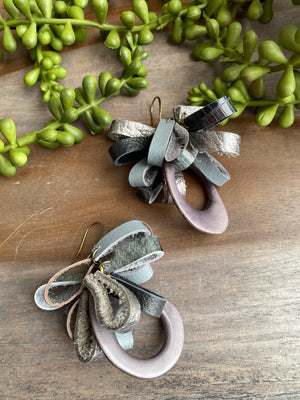 Gray Tagua & Leather Petal Earrings