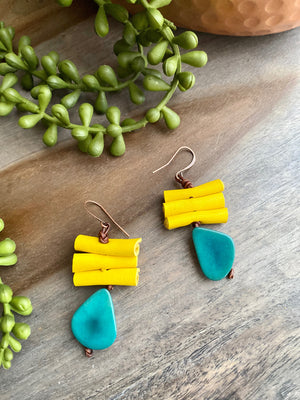 Teal Tagua Triangle & Yellow Leather Bead Earrings