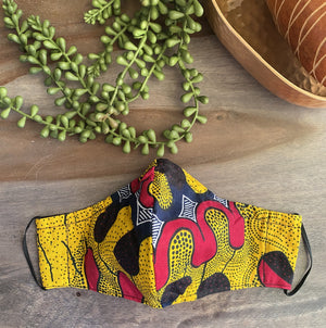 Yellow, Red & Navy Ankara Fabric Mask