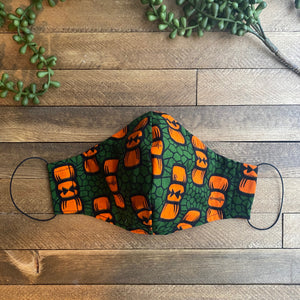Green & Orange Ankara Fabric Mask