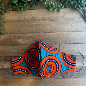 Aqua & Orange Ankara Fabric Mask