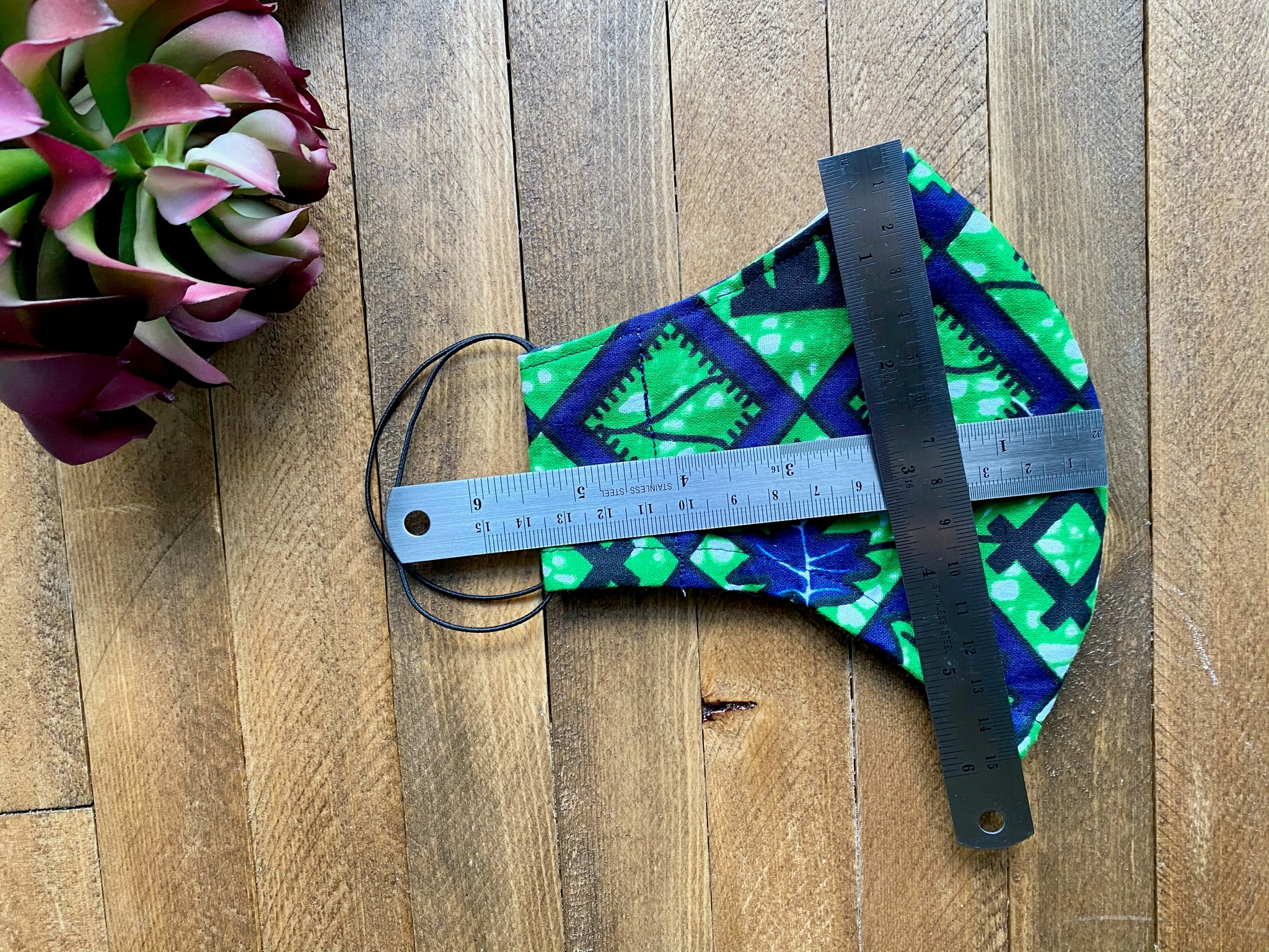 Green & Blue Ankara Fabric Mask