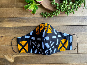 Black, White & Yellow Mudcloth Pattern Fabric Mask