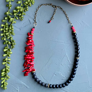 Coral & Lava Statement Necklace