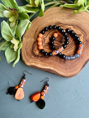 Orange & Black African Krobo & Tagua Slice Earrings