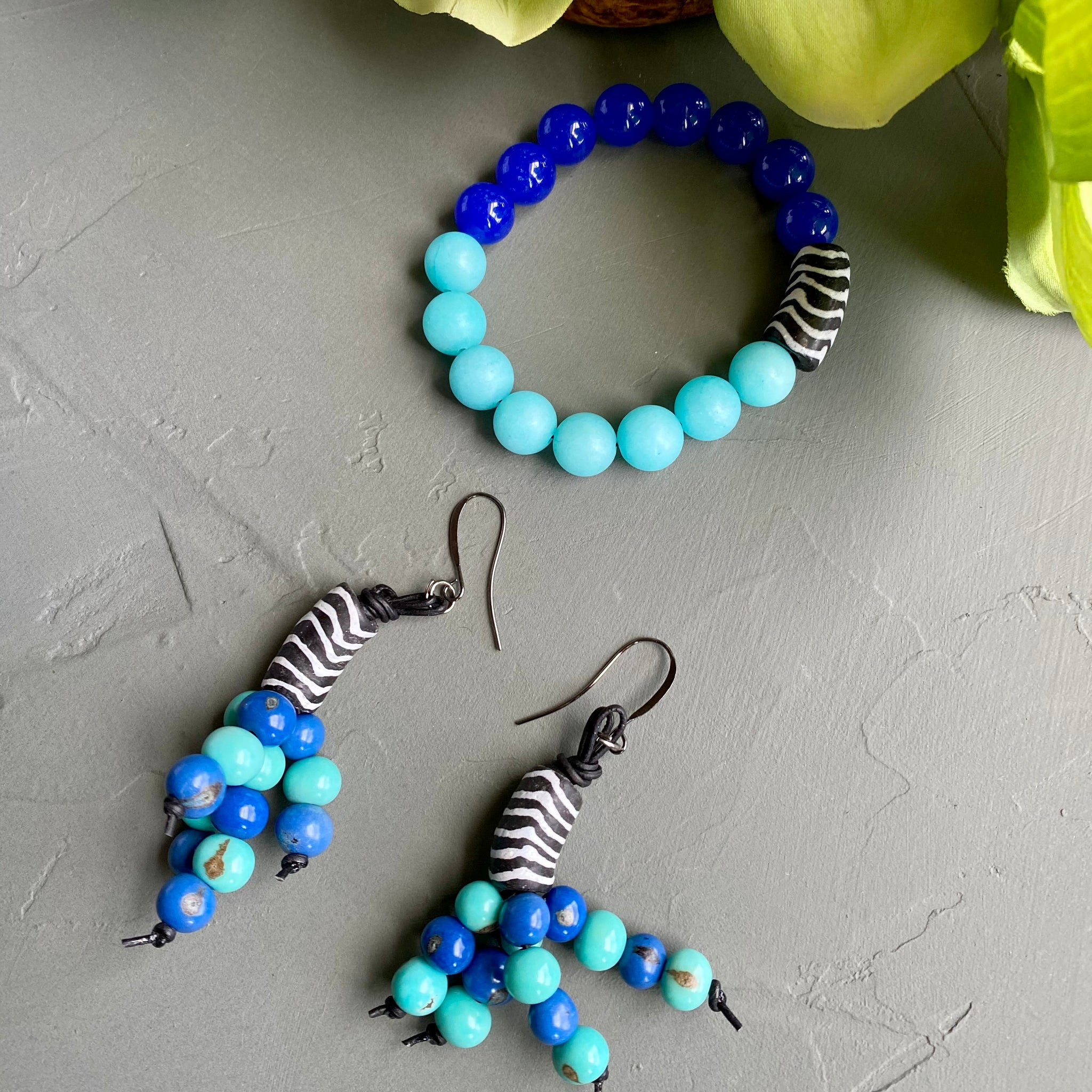 Black & White African Krobo with Shades of Blue Acai Bead Earrings