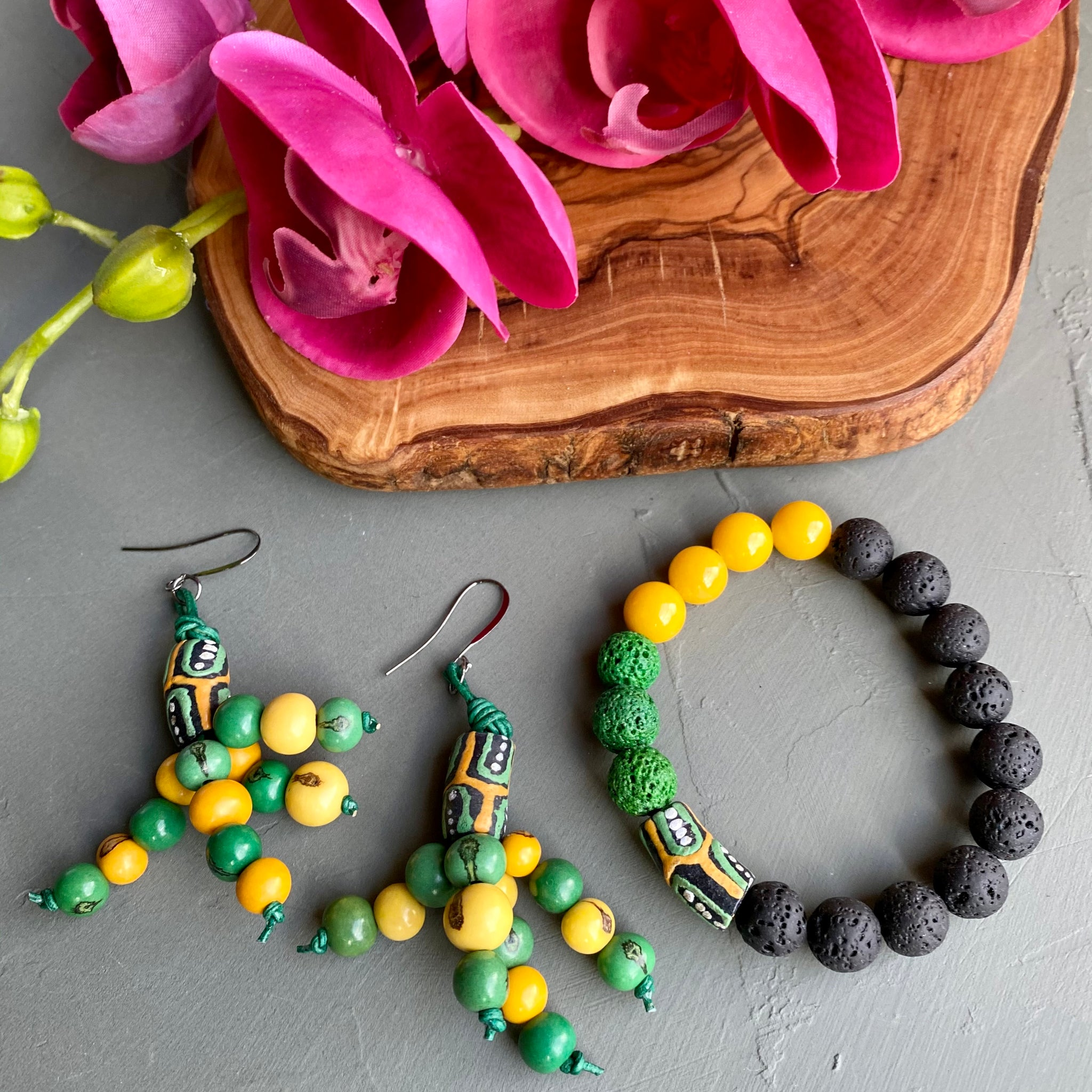Black, Yellow & Green African Krobo & Acai Bead Earrings