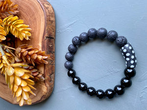 Black Krobo Beaded Stretch Bracelet