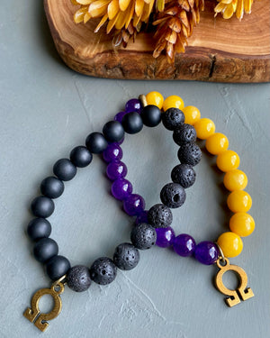 Beaded Stretch Bracelet w/ Omega Charm [series]