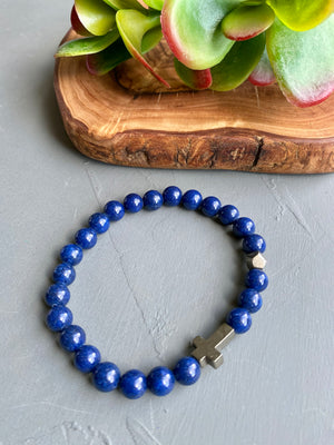 Navy Blue Beaded Stretch Bracelet w/ Pyrite Accents