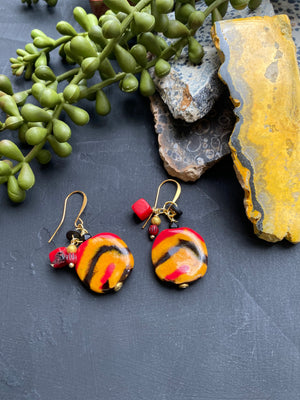 Black, Red & Yellow Striped Kazuri Earrings