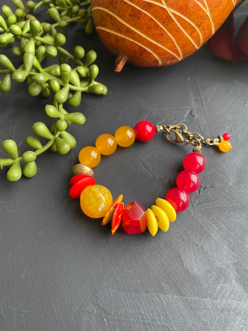 Yellow & Red Lobster Clasp Bracelet