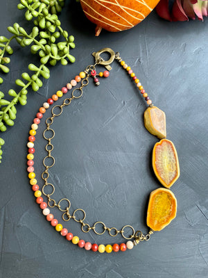 Agate & Mookaite Jasper Statement Necklace