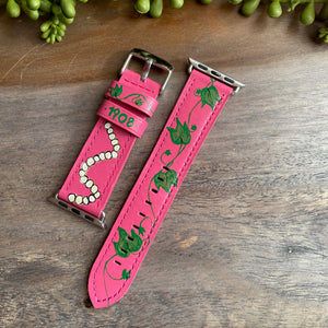 Pink & Green Design Genuine Leather Apple Watch Band (38/40)