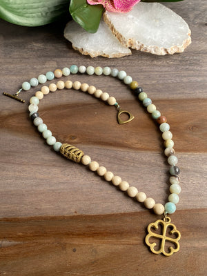 Amazonite & Riverstone Adinkra Necklace
