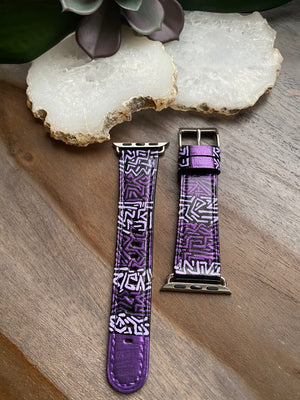 Black with Purple Design Leather Apple Watch Band (38/40)